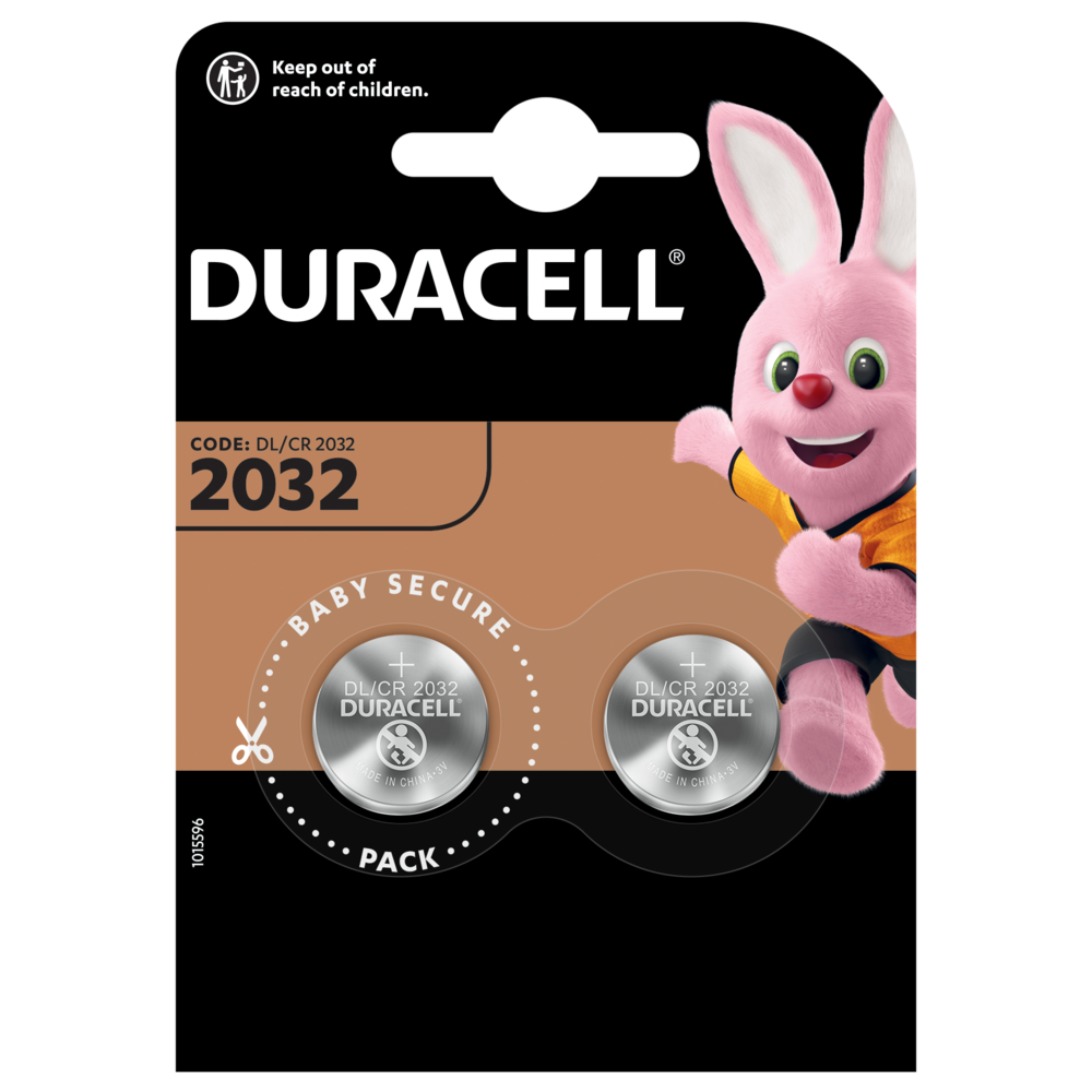 Moneta al litio Duracell 2032 con 2 batterie in un pacchetto